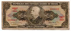 C071 - 5 Cruzeiros - 2° Estampa - Série 2763 - Numeração 000042 - Barão do Rio Branco - Data: 1962 - R