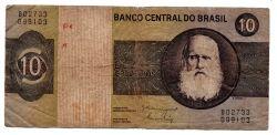 C140 - 10 Cruzeiros - Dom Pedro I - Data: 1980 - Estado de Conservação: Um Tanto Gasta (UTG) - (Obs.: Pode conter: Rasuras / Riscos / Rasgos / Fitas / Durex / Etc...)