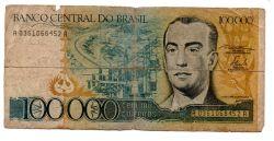 C176 - 100000 Cruzeiros - Juscelino Kubitschek - Data: 1985 - Estado de Conservação: Regular (R)