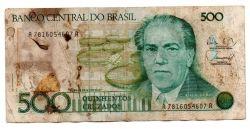 C192 - 500 Cruzados - Villa Lobos - Data: 1988 - Estado de Conservação: Um Tanto Gasta (UTG) - (Obs.: Pode conter: Rasuras / Riscos / Rasgos / Fitas / Durex / Etc...)