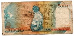 C201 - 5 Cruzados Novos (Carimbo sob 5000 Cruzados) - Cândido Portinari - Data: 1989 - Estado de Conservação: Regular (R)