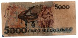 C219 - 5000 Cruzeiros - Carlos Gomes - Data: 1990 - Estado de Conservação: Um Tanto Gasta (UTG) - (Obs.: Pode conter: Rasuras / Riscos / Rasgos / Fitas / Durex / Etc...)