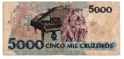 C220 - 5000 Cruzeiros - Carlos Gomes - Data: 1992 - Estado de Conservação: Regular (R)