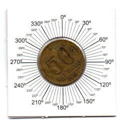 1956 - 50 Centavos - ERRO : Reverso Inclinado - Moeda Brasil
