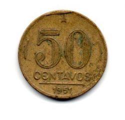1951 - 50 Centavos - ERRO : Cunho Quebrado - Moeda Brasil