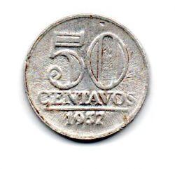 1957 - 50 Centavos - ERRO : Cunho Quebrado - Moeda Brasil