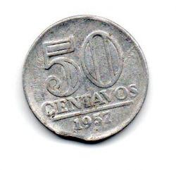 1957 - 50 Centavos - ERRO : Disco Cortado - Moeda Brasil