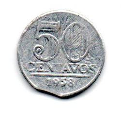 1958 - 50 Centavos - ERRO : Disco Cortado - Moeda Brasil