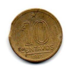 1945 - 10 Centavos - ERRO : Disco Cortado - Sem Sigla OM - Moeda Brasil