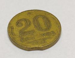 1945 - 20 Centavos - ERRO : Disco Cortado - Sem Sigla OM - Moeda Brasil