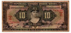.R184 - 10 Mil Réis - 1° Estampa - Duas Chancelas - Série 10 - Data: 1927 - BC