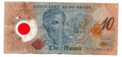 C332 - 10 Reais - Data: 2001 - Polímero - Pedro Álvares Cabral - Comemorativa 500 Anos Descobrimento do Brasil - UTG (C/ Furos)