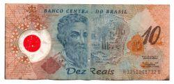 C332 - 10 Reais - Data: 2001 - Polímero - Pedro Álvares Cabral - Comemorativa 500 Anos Descobrimento do Brasil - UTG (C/ Furos e Manchas)