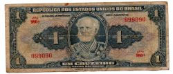 C009 - 1 Cruzeiro - 1° Estampa - Série 980 - Numeração : 099090 - Autografada / Assinada a Mão - Marquês de Tamandaré - Data: 1944 - R