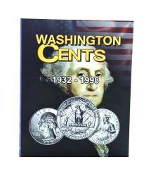 Álbum p/ Moedas -  Washington Cents (0,25 / Quarter Dollar) - 1932 a 1998 - Estados Unidos - Vazio