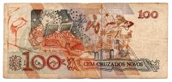 C206 - 100 Cruzados Novos - Cecília Meireles - Numeração : A4287100000A - Data: 1989 - BC