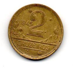 1945 - 2 Cruzeiros - Com Aspas - Sem Sigla WT no Anverso - ERRO : Cunho Quebrado - Moeda Brasil