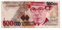 C231 - 500000 Cruzeiros - Mário de Andrade - Data: 1993 - Estado de Conservação: MBC/SOB