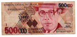 C236 -  500 Cruzeiros Reais (Carimbo sob - 500000 Cruzeiros) - Mário de Andrade - Data: 1993 - Estado de Conservação: Bem Conservada (BC)