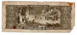 C073 - 5 Cruzeiros - 2° Estampa - Série Aleatória - Barão do Rio Branco - Data: 1964 -  - Estado de Conservação: Um Tanto Gasta (UTG) - (Obs.: Pode conter: Rasuras / Riscos / Rasgos / Fitas / Durex /